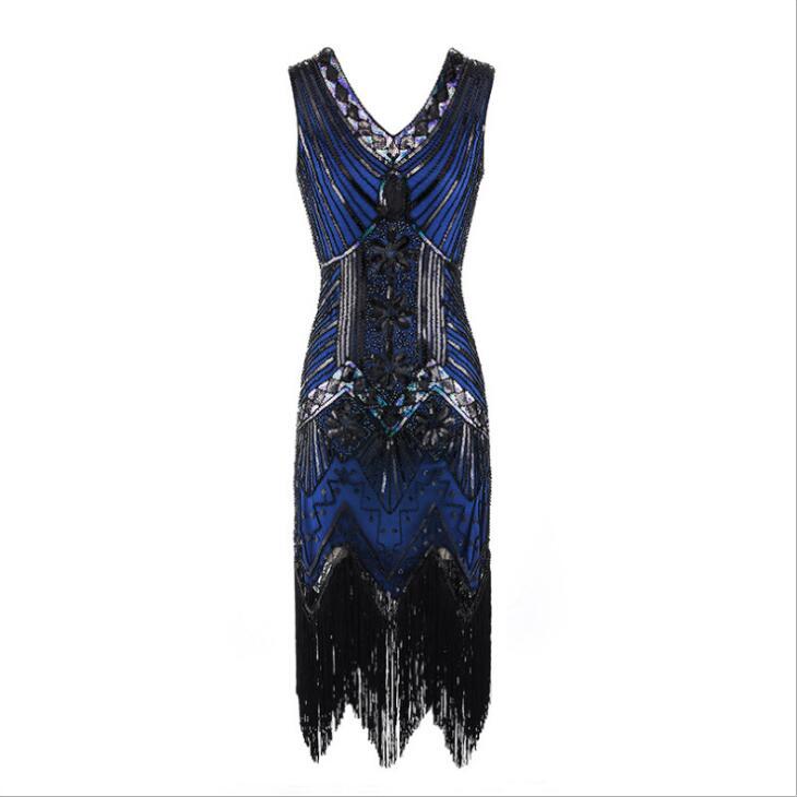 1920s Vintage Flapper Great Gatsby Party Dress V-Neck Sleeveless Sequin Beaded style Style Tassel Flapper Vestidos Feminina 1920 14
