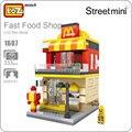 Loz mini rua modelo pequena casa mc donalds brinquedo mini cidade bloco blocos de construção de modelo de arquitetura da loja de alimentos mcdonalds 1607