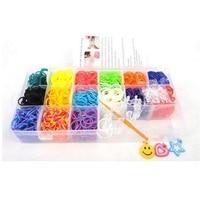Free Ship Rubber Loom Bands Kit For Kids DIY Bracelets 2000pcs Colorful Rubber Bands 1 Hook