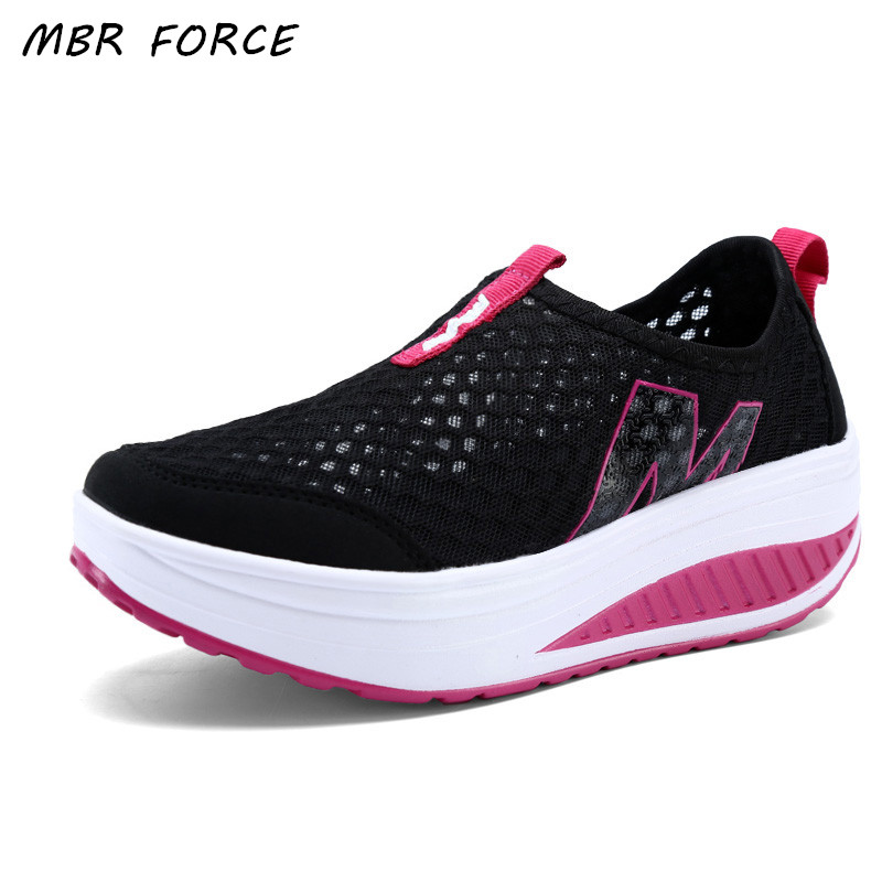 New Women's Shoes Casual Sport Fashion Shoes Walking Flats Height Increasing Women Loafers Breathable Air Mesh Swing Wedges Shoe