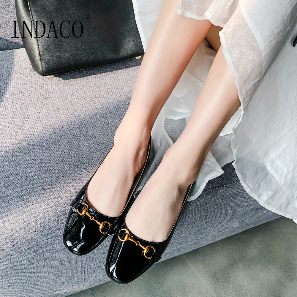 2019 Flat Shoes Women Loafers Black Leather Slip on for