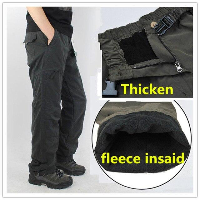 Inverno foderato in pile cargo uomini di doppio strato pantaloni caldi militare cargo pantaloni casual lungo baggy army outdoor pantaloni tattici
