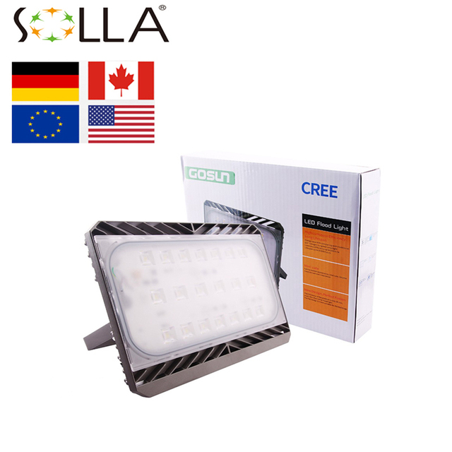 SOLLA LED flood Light with cable and plug 30W 50W 70W 100W AC100-220V Outdoor Garden Lamp Waterproof Ultrathin Spotlight