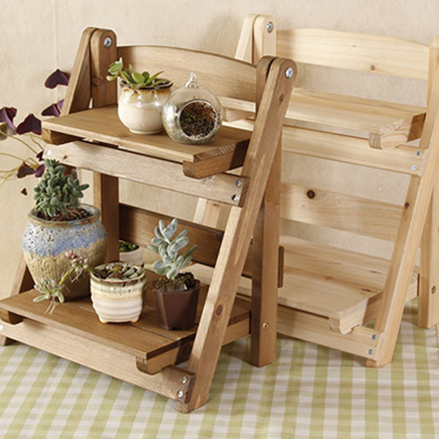 2018 Hot Mini Solid Wood Tabletop Storage Rack Shelf Household Flower Pot Frame Stand Garden Kit Holder Decoration