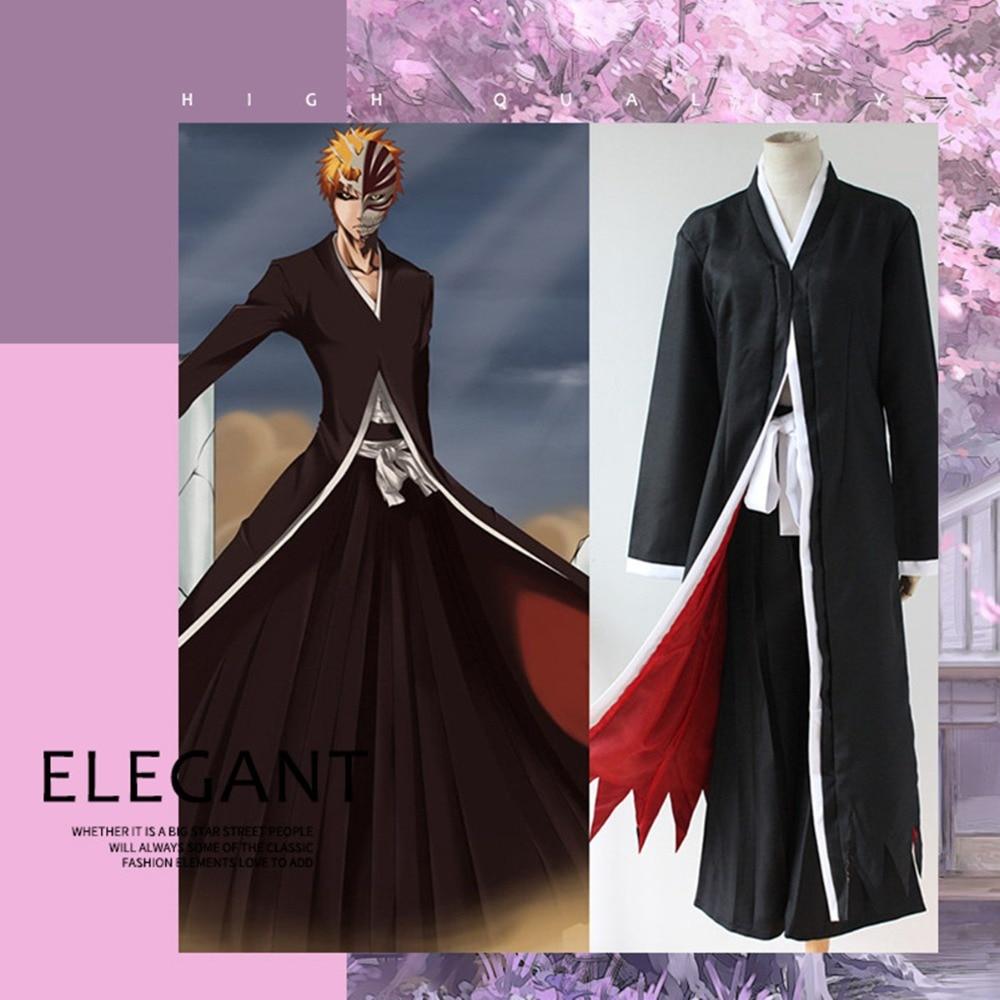 BLEACH Kurosaki ichigo Cosplay Costumes 2019 Men's and women's stage costumes Kurosaki ichigo Long black cloak and trousers