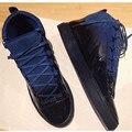 Lace Up Gradiente 2017 De moda De Lujo de Los Hombres Zapatos Casuales de Cuero hombres Altos Zapatos Superiores 6 Colores Creepers Planos de Los Hombres Zapatillas Deportivas