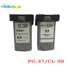 2 pcs PG37 CL38 Remanufactured Ink Cartridge For Canon PG 37 CL 38 ink Cartridge For Canon ip1800 ip2600 MP140 MP210 MP470 MX300
