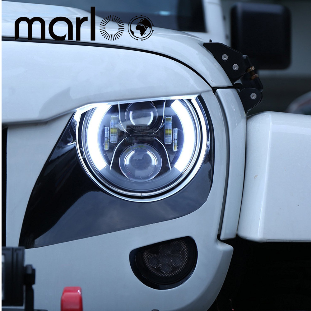 Marloo Pair 7 LED Headlight for Jeep Wrangler JK Headlamp with Halo Angel Eye & Turn Signal Lights & DRL pair for harley jk wrangler tj 7 inch round led headlight white halo angel eye drl yellow turn signal led projection daymaker