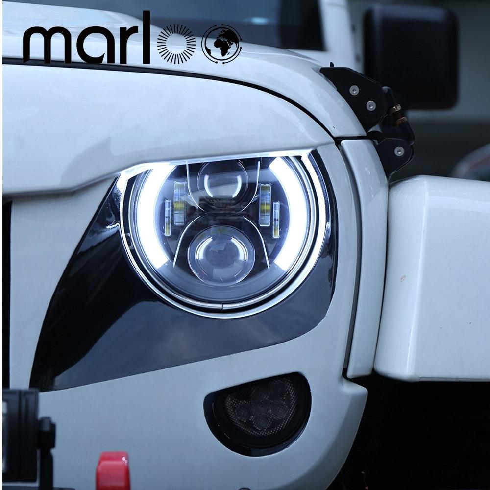 Marloo Pair 7 LED Headlight for Jeep Wrangler JK Headlamp with Halo Angel Eye & Turn Signal Lights & DRL marloo pair 7 led headlight for jeep wrangler jk headlamp with halo angel eye
