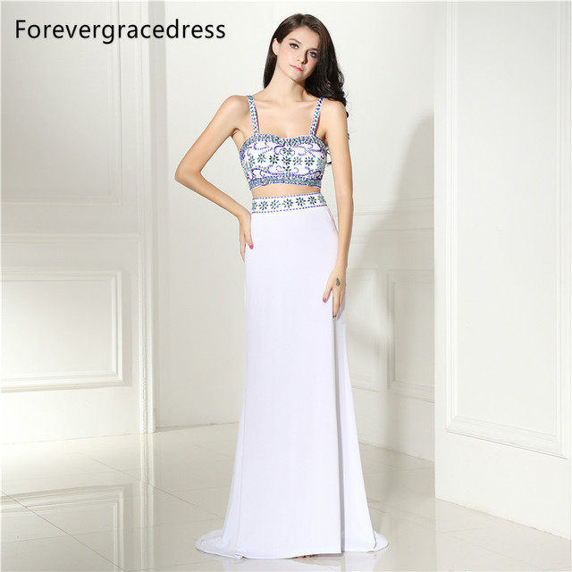 Forevergracedress Two Pieces Prom Dress Spaghetti Straps Backless Beaded  Crystals Long Formal Party Gown Plus Size fb6ce8e47432