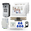 "Wholesale 7"" Color Video Door Phone Intercom Entry Kit 2 Monitors + RFID Access Camera + Strike Door Lock + Remote FREE SHIPPING"