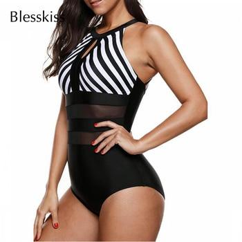 Striped Mesh Waist One Piece Swimsuit 3