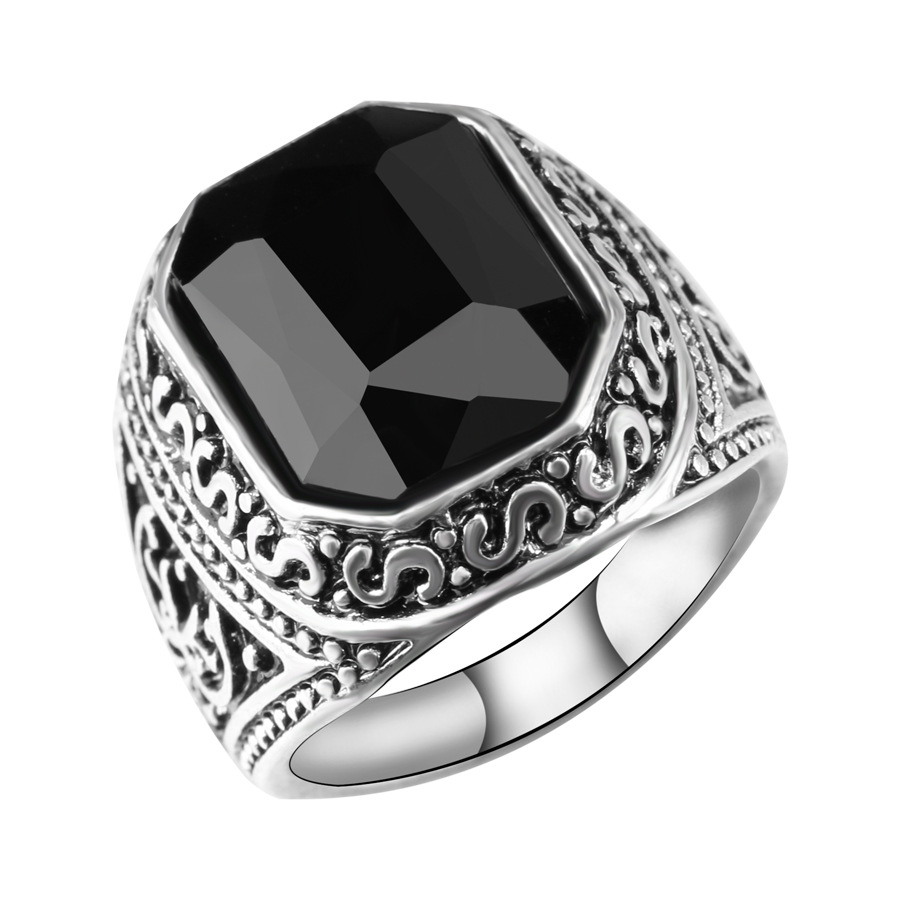 Antique Mens Rings Tibetan Silver Jewelry With Red Black Square Stone Retro Vintage Jewelry For Women anelli uomo