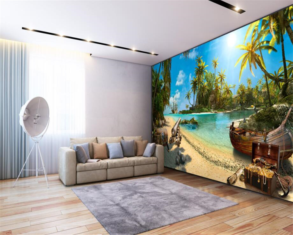 Купить с кэшбэком Beibehang wallpaper pirate ship island landscape murals 3d tv background wall paper home decor living room bedroom 3d wallpaper