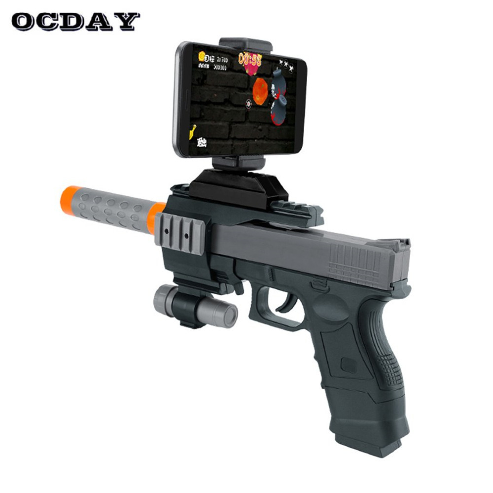 OCDAY 3D AR Gun Games Toy Portable VR Toy for Android iPhone Phones Indoor Outdoor Toys For Children Gift