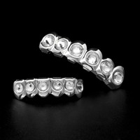 Yinian Hip Hop Gold Silver Color Rhinestone Crystal Grill Dental Grills Top Bottom Tooth Caps Body