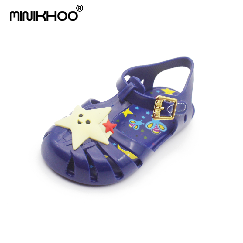Mini Melissa Star Moon Pattern Brazil Roman Sandals 2018 Summer Mini Melissa Jelly Sandals Toddler Shoes Girls Melissa Sandals