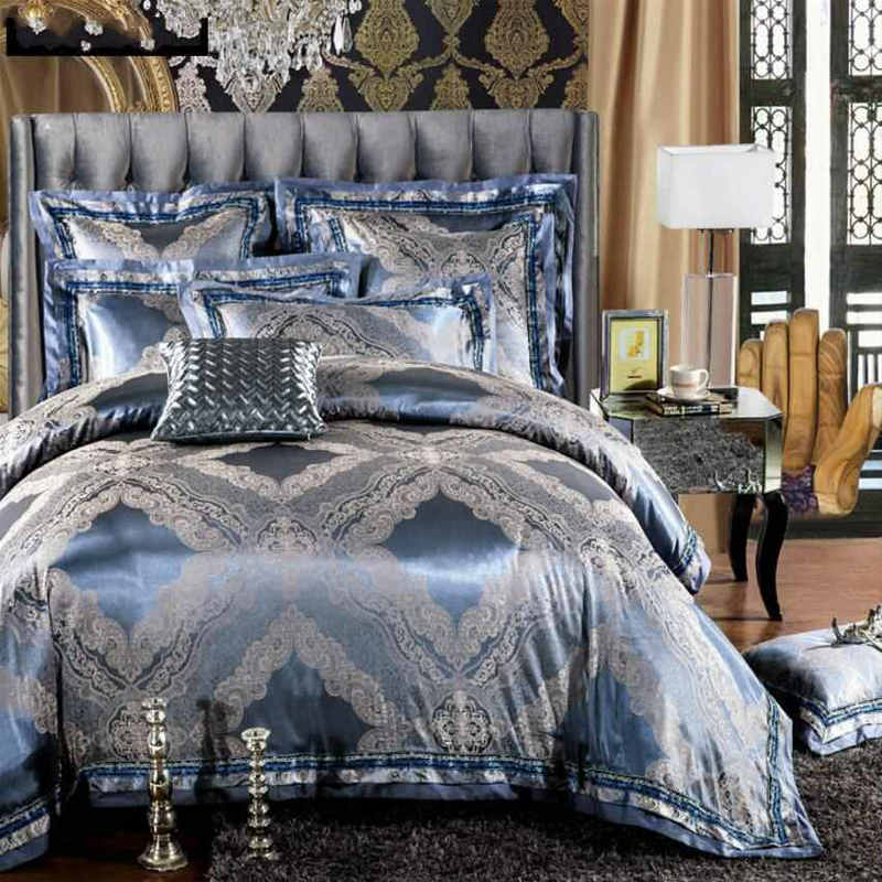 luxury jacquard silk bed linen satin bedding set bedcover queen king