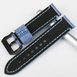 Image 4 - MAIKES di Alta Qualità in Vera Pelle di Vitello di Colore Blu Cinturini Cinturino Orologio 22mm 24mm 6 Colori Handmade Cinturino per Panerai