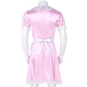 Image 4 - סקסי Mens סיסי תלבושות ילדה אחיד שמלת תלבושות בובת צוואר קצר שרוול סאטן שמלה עם סרט סינר סקסי קוספליי