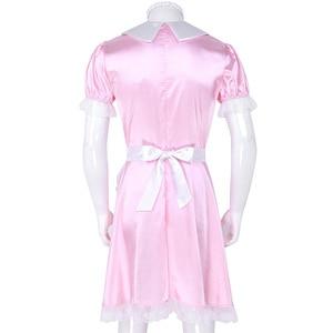 Image 4 - Seksowne męskie Sissy kostiumy dziewczyna pokojówka sukienka, mundurek kostium lalka szyi z krótkim rękawem satynowa sukienka z pałąkiem na głowę i fartuch Sexy Cosplay