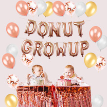 Rose Gold Donut Grow Up Birthday Party Decorations Mylar Foil Balloons Metallic Tinsel Table Curtains Latex Ballons Kids Shower