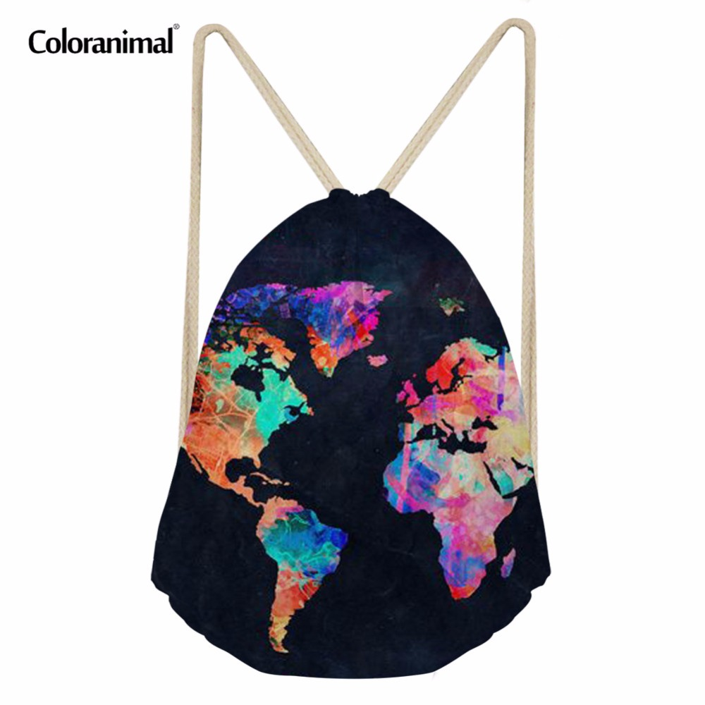 Coloranimal Men Women Casual Drawstring Bag Male Gym Sack 3D World Map Print Travel Backpack Softback Teenager Girl Boy Rucksack