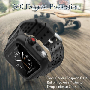 Image 2 - Silicone Waterproof Sport Case for Apple Watch Band 38mm 42mm 40mm 44mm Breathable Bracelet Strap for iWatch Series SE/6/5/4/3/2