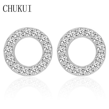 CHUKUI Korean Silver 925 Jewelry Women Accessories Crystal Silver Earrings Studs Circle Ear Rings Female Oorbellen Trending