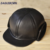 2018 Baseball Cap Winter ear cap with Sheepskin Earflaps High Quality Leather Hat Winter Man Hat Fur Hat for Man