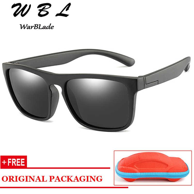 WarBLade Novo produto Crianças Quadrados Óculos Polarizados Crianças Silicone Seguro TR90 Espelho Revestimento de Óculos de Sol Meninas Meninos UV400