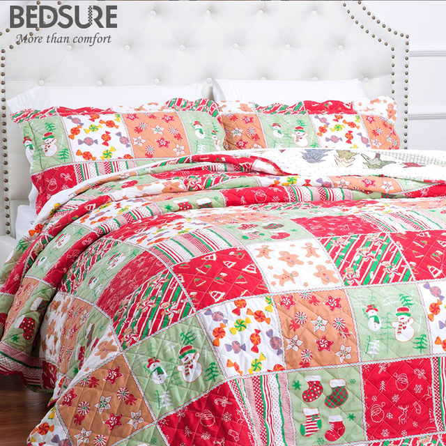 bedsure christmas plaid quilt bedding set pattern soft bed linen bed sheet warm bedclothes bedspread couvre