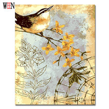 WEEN Magpie Pictures By Numbers Modern Animals Wall Art Oil Painting Coloring by number For Home Artwork 2017 Yellow Flower