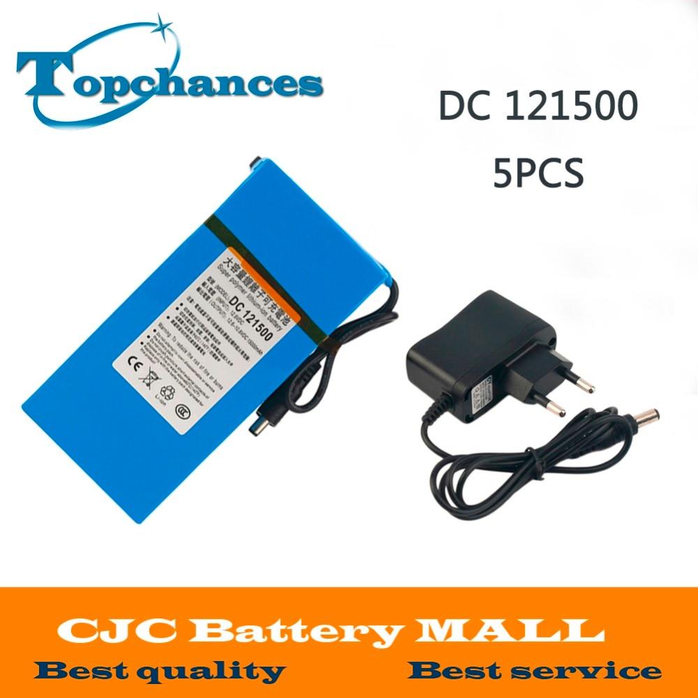 High Quality 5PCS DC 12V Strong 15000MAH Powerful Rechargeable Backup font b Li ion b font