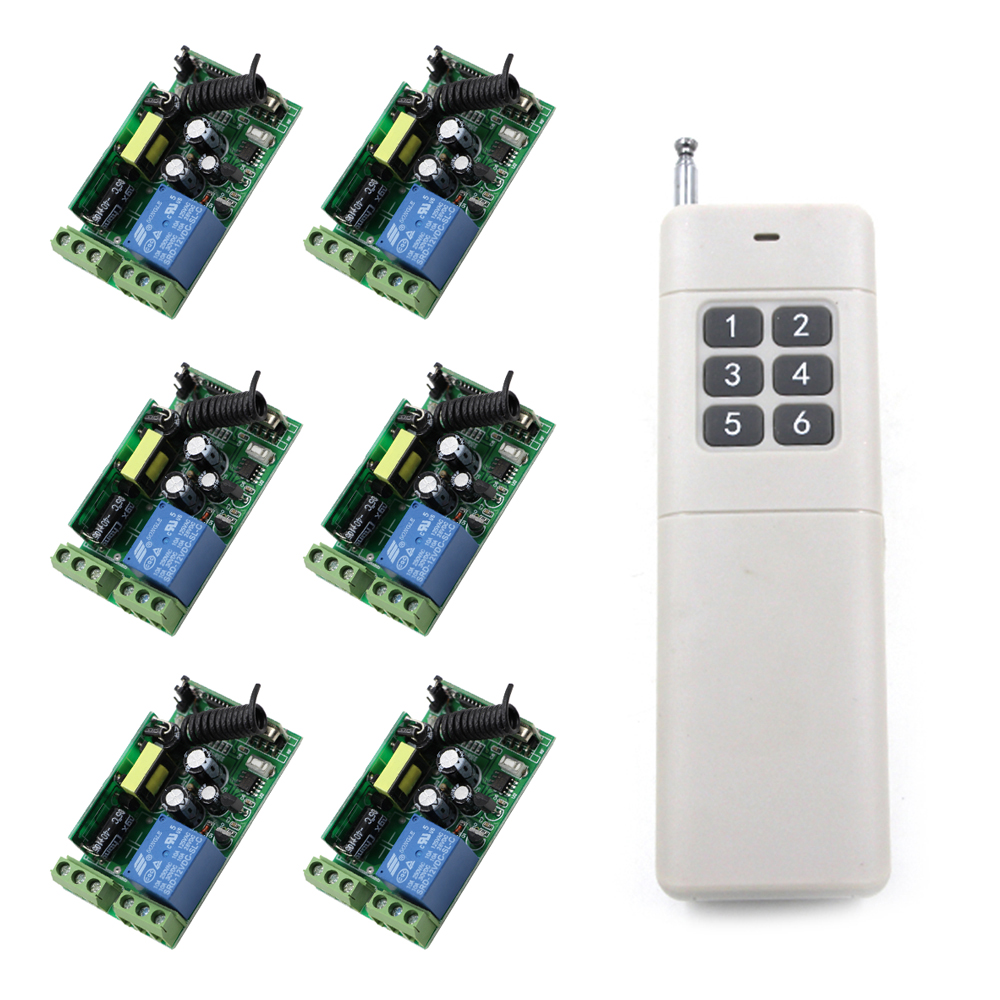 AC 85V 110V 220V 250V 1CH Radio Remote Control Switch 1x6 Buttons Transmitter and 6x1CH Receivers For Hoist/ Industrial Control ac 85v 220v 110v 250v 1ch 10a radio controller rf wireless remote control switch transmitter 4 receivers for electric curtain