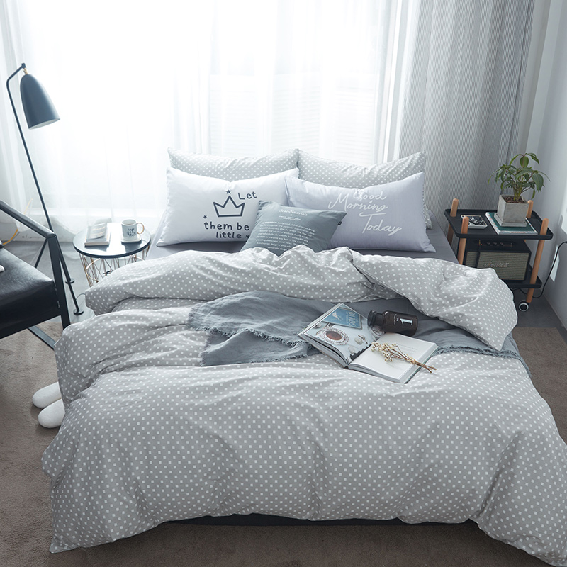 Grey Cotton Bedding Sets White Square Patterns Simple and ...