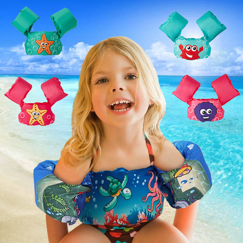 Children Inflatable Baby Learning Swimming Water Sports Adjustable Life Vest Baby Life Jackets+Arm Circle Sleeves Combination