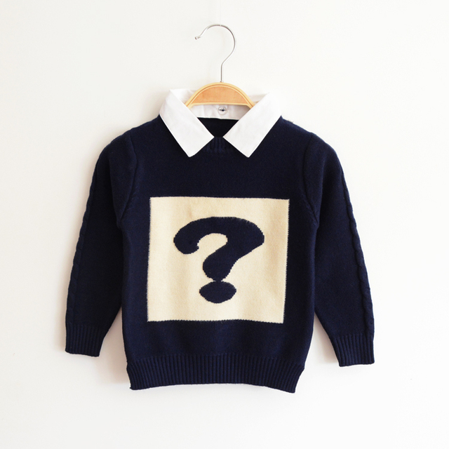 New 2017 autumn and winter children 's sweater boys baby kids fashion cartoon question mark sweater handsome sweater