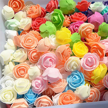 50Pcs 3.5cm Pompon Mini PE Foam Rose Heads Artificial Silk Flowers bouquet For Wreaths DIY Wedding Scrapbooking Fake Flower
