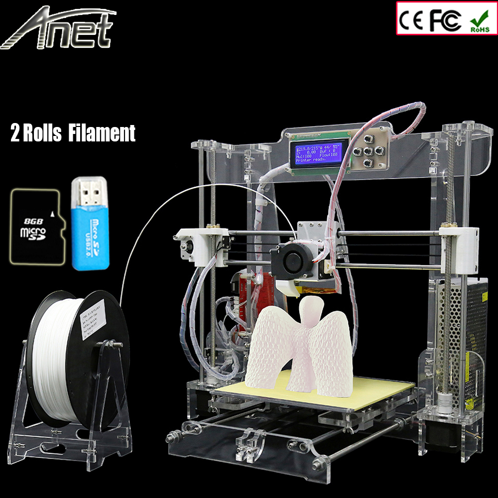 Anet A8 3d-printer High Precision Reprap 2004LCD Acquired DIY 3D Printer Kit With 2Rolls Filament+8GB SD card and LCD Free anet a8 3d printer precision reprap prusa i3 5key lcd acquired diy 3d printer kit with 2rolls filament 8gb sd card and lcd free