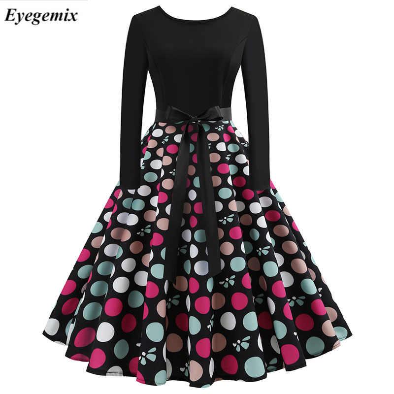 827741e0eb Black Winter Dress Chrismas Women Polka Dot Patchwork Elegant Vintage Dress  Long Sleeve Big Swing Plus Size Casual Party Dresses