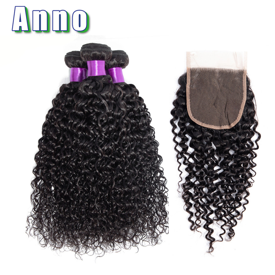 Anno Curly Hair Bundles With Closure Non Remy Brazilian Human Hair 3 Bundles With Closure Natural