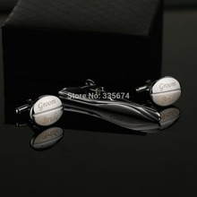 CT-006B Personalized Oval Cufflinks And Tie-bar set  for birthday wedding party Customized gift