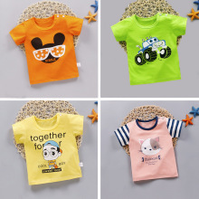 Summer T-shirt Kids Boy Girl Short-sleeved Cotton Tops Cartoon Rabbit Printed Tshirt Children Toddler Tees Striped Drop Shipping free shipping 2015 new summer brand teen boy solid polo shirt 12 13 14 15 years children patchwork tees kids tshirt 6c3050