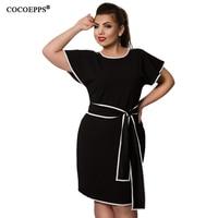 COCOEPPS Patchwork Women Dress Big Size Butterfly Sleeve Sundress 2017 Plus Size Elegant Office Dress With