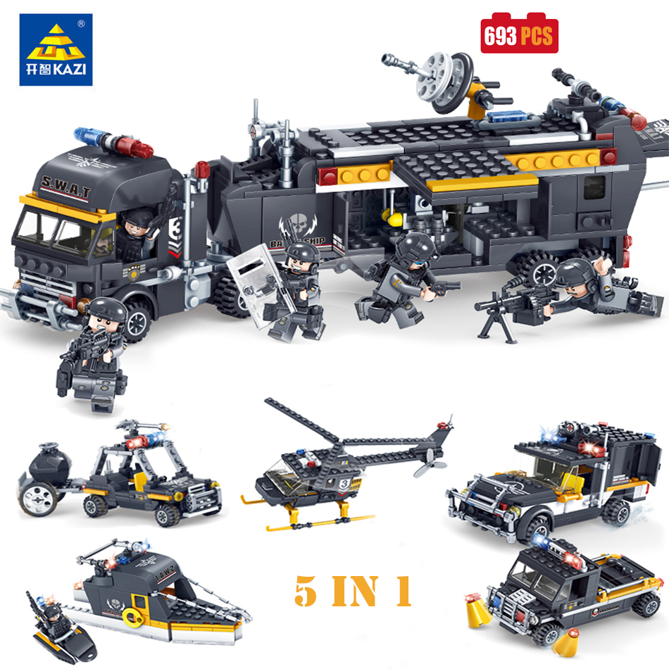 KAZI SWAT Team Command Vehicle Car Model Building Blocks Bricks Action Figure Compatible Legoe city Police Toys For Children Boy kazi 608pcs pirates armada flagship building blocks brinquedos caribbean warship sets the black pearl compatible with bricks