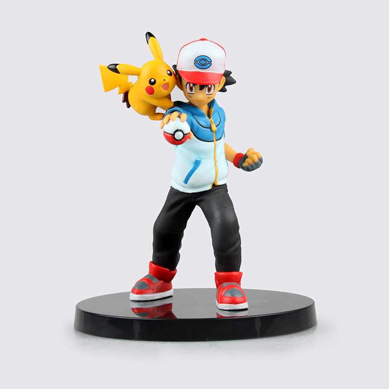 13.5cm Pikachu Figure Ash Ketchum Pikachu Kids Toy PVC Partners Action Figure Resin Collection Model Doll Gifts Doll