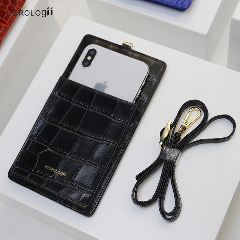 Horologii pour iphone portefeuille cas Xs max avec la courroie de luxe en cuir de vache en relief crocodile motif personnalisé initiales