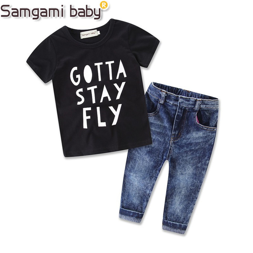 SAMGAMI BABY Kids Infant Boys Clothes Sleeved T shirt + Denim Pant Outfit Jeans Pants Clothing ...