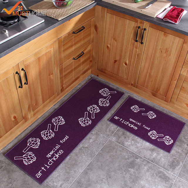 Kitchen Rug Set Cupboard Gadgets 2 Piece Non Slip Mat Rubber Backing Doormat Runner 40 60cm 120cm